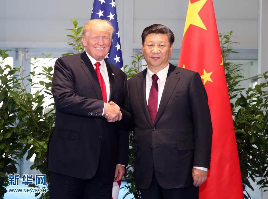 7月8日,国家主席习近平在二十国集团领导人汉堡峰会闭幕后会见美国总统特朗普。(新华社记者 姚大伟摄)