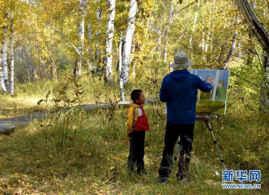 新疆哈巴河:白桦林迎画家 画家助兴农家